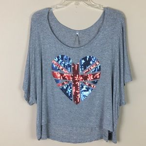 Tops - Cropped Sequined Union Jack Heart Tee